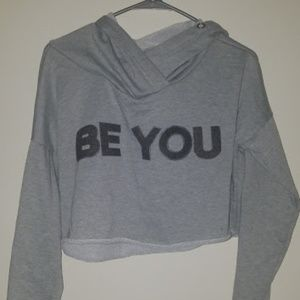 Rue 21 Size Small Grey Be You Hooded Crop Top Swea